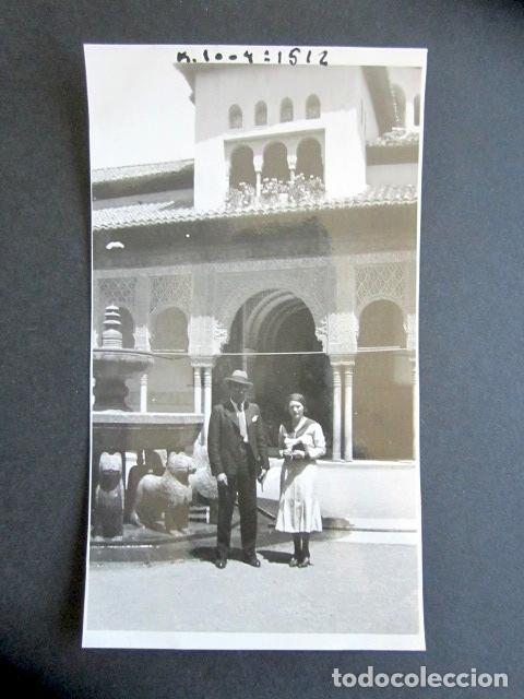 AÑO 1932. GRANADA. PATIO DE LOS LEONES. ANTIGUA FOTOGRAFÍA. 11,3 X 7 CM. (Fotografía Antigua - Fotomecánica)