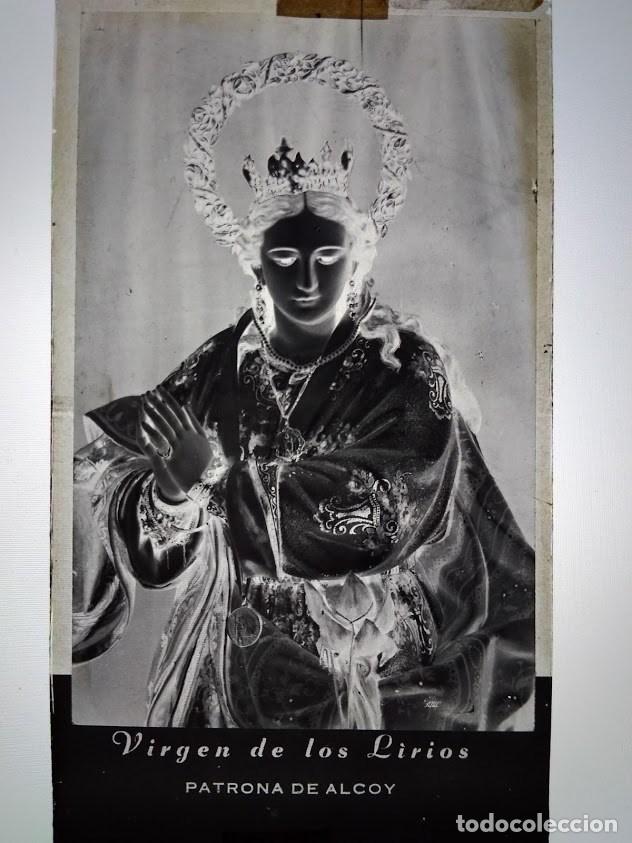 ANTIGUO CLICHÉ DE LA VIRGEN DE LOS LIRIOS PATRONA DE ALCOY ALICANTE NEGATIVO EN CRISTAL (Fotografía Antigua - Fotomecánica)
