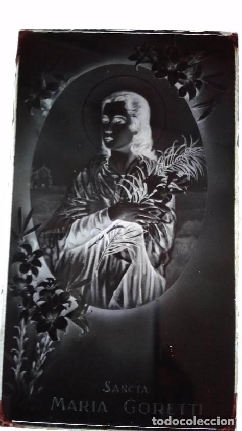 ANTIGUO CLICHÉ DE SANTA MARÍA GORETTI NEGATIVO EN CRISTAL (Fotografía Antigua - Fotomecánica)