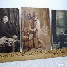 Fotografía antigua: TRES FOTOGRAFÍAS DE ESTUDIO AÑOS 20/30 - REF: 390/400. Lote 178352708