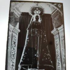 Fotografía antigua: LANGREO ASTURIAS NTRA SRA DEL CARBAYU ANTIGUO CLICHE NEGATIVO EN CRISTAL. Lote 180208842