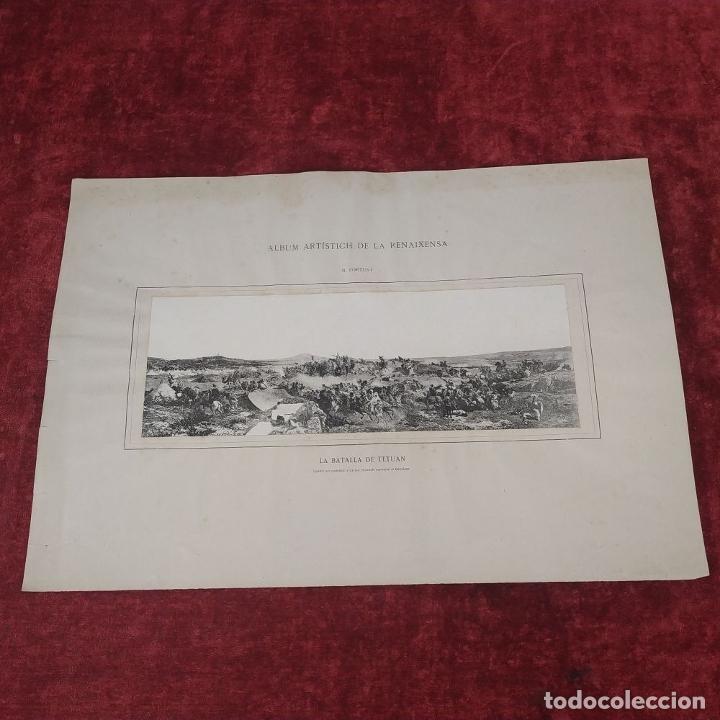 Fotografía antigua: LA BATALLA DE TETUAN. REPRODUCCIÓN FOTOGRAFICA DE LA PINTURA DE FORTUNY. ESPAÑA. XIX - Foto 2 - 181743468