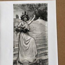 Fotografía antigua: FOTO ARCHIVO MAS CARTEL JOCHS FLORALS BARCELONA 1908 RAMON CASAS E-0179. Lote 182148731
