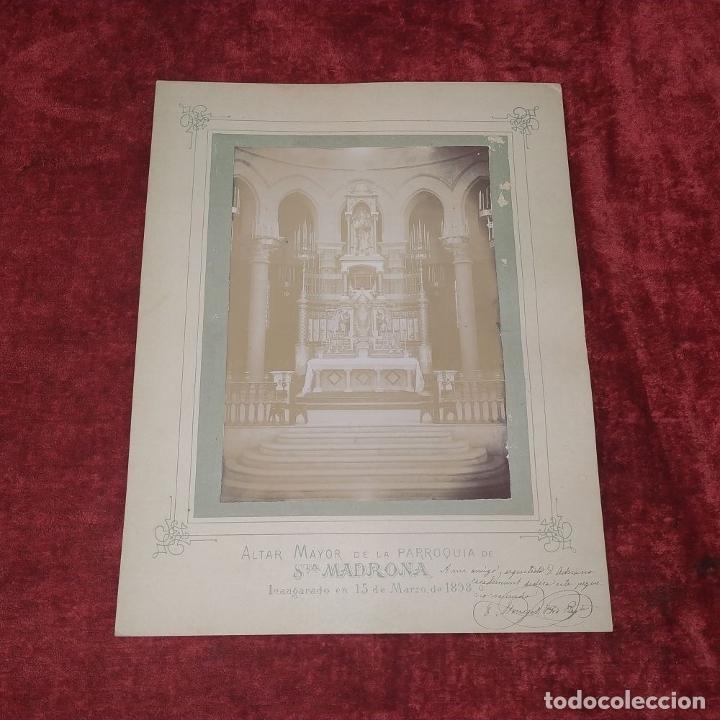 Fotografía antigua: ALTAR MAYOR DE SANTA MADRONA DE BARCELONA. FOTOGRAFÍA. DEDICADA. ESTEBAN MONEGAL.ESPAÑA. 1898 - Foto 2 - 182163183