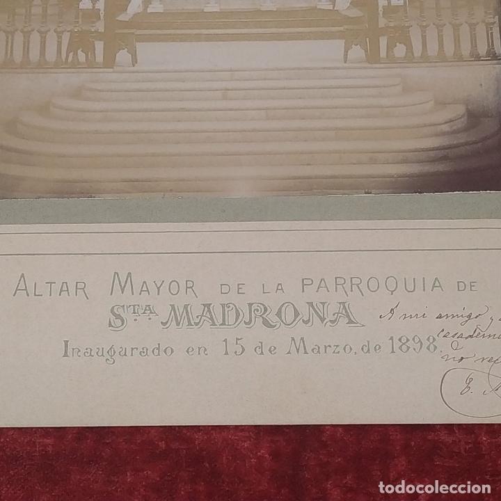 Fotografía antigua: ALTAR MAYOR DE SANTA MADRONA DE BARCELONA. FOTOGRAFÍA. DEDICADA. ESTEBAN MONEGAL.ESPAÑA. 1898 - Foto 7 - 182163183