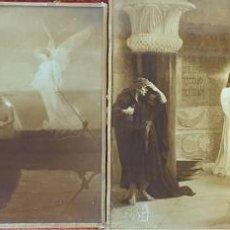 Fotografía antigua: PAREJA DE CLICHÉS FOTOGRÁFICOS. ESCENAS RELIGIOSAS SOBRE CRISTAL. SIGLO XX. . Lote 184677106