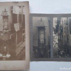 Fotografía antigua: BARCELONA FIESTAS FESTEJO CALLE SAN GIL 3 FOTOGRAFIAS GRANDES CARTON DURO FOTO J MANETES. Lote 190518342