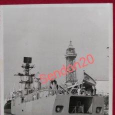 Fotografía antigua: FOTOGRAFIA FRAGATA BALEARES LANZAMISILES. BARCELONA 1974. Lote 191114246