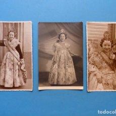 Fotografia antica: VALENCIA - FALLAS - 3 FOTOGRAFIAS FALLERA - AÑOS 1940-50. Lote 193181180