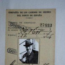 Fotografía antigua: TARJETA ,COMPAÑIA DE LOS CAMINOS DE HIERRO .. Lote 194712716