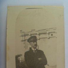 Fotografía antigua: FOTO DE SEÑOR CON GORRA MILITAR, POSIBLEMENTE FUNCIONARIO , ADUANERO O SIMILAR. PRINCIPIOS DE SIGLO. Lote 194735396