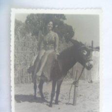 Fotografía antigua: FOTO DE SEÑORITA EN BAÑADOR MONTADA EN UN BURRO. Lote 194952142