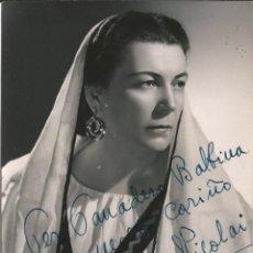 Fotografía antigua: OPERA - MEZZO SOPRANO BULGARA ELENA NICOLAI COMO SANTUZZA - FOTO 17X14CM CON AUTÓGRAFO ORIGINAL 1955. Lote 195024572