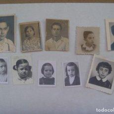 Fotografía antigua: LOTE DE 10 FOTOS DE CARNET DE NIÑOS, MEDIADOS DE SIGLO. Lote 195497383