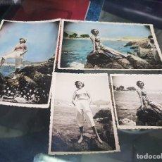 Fotografía antigua: ANTIGUAS FOTOGRAFIAS COLOREADAS PLAYA PUERTO DE MAZARRON MURCIA. Lote 195757791
