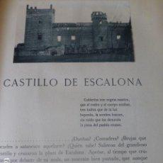 Fotografía antigua: ESCALONA TOLEDO EL CASTILLO SEPARATA CON FOTOGRABADOS POR EL CONDE DE LA VENTOSA. Lote 205763487
