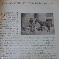 Fotografía antigua: SAN MARTIN DE VALDEIGLESIAS MADRID SEPARATA CON FOTOGRABADOSPOR EL CONDE DE LA VENTOSA. Lote 205764061