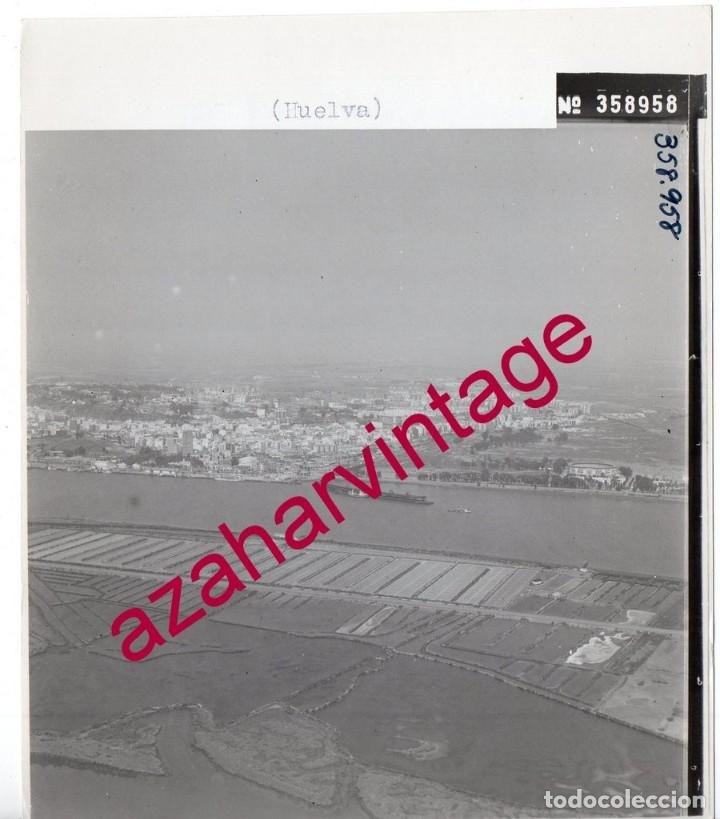 HUELVA, ANTIGUA FOTOGRAFIA,VISTA AEREA,SALINAS PAISAJES ESPAÑOLES,128X178MM (Fotografía Antigua - Fotomecánica)