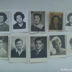 Fotografía antigua: LOTE DE 10 FOTOS DE CARNET , MUJERES Y NIÑOS. ¡ ROTAS Y PEGADAS !. Lote 206577376