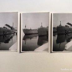 Fotografía antigua: SUBMARINO. PUERTO DE VALENCIA? LOTE. 3 FOTOGRAFÍAS, MEDIDAS: 10,5 X 7,5 CM., (H.1960?). Lote 210531846