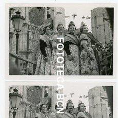 Fotografía antigua: LOTE 2 FOTOS ORIGINALES VALENCIA FIESTA DE FALLAS FALLERAS AÑO 1955. Lote 210632860