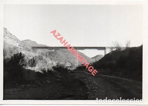 ANTIGUA FOTOGRAFIA PUENTE DE GERGAL, LINEA FERROVIARIA ALMERIA-LINARES, 128X90MM (Fotografía Antigua - Fotomecánica)
