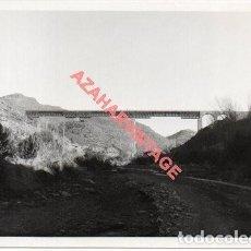 Fotografía antigua: ANTIGUA FOTOGRAFIA PUENTE DE GERGAL, LINEA FERROVIARIA ALMERIA-LINARES, 128X90MM. Lote 214235637