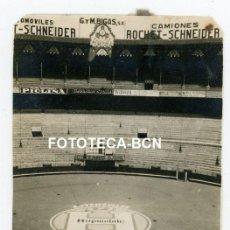 Fotografía antigua: FOTO ORIGINAL BARCELONA PLAZA TOROS MONUMENTAL PUBLICIDAD HUPMOBILE ROCHET SCHNEIDER CINZANO AÑOS 20. Lote 221660743