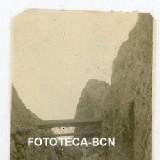 Fotografía antigua: FOTO ORIGINAL BARRANCO MASCARAT ALICANTE PUENTE DE FERROCARRIL AÑOS 20. Lote 221662223