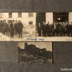 Fotografía antigua: BUÑOL FOTOGRAFÍAS (3) V. BARBERA MASIP DESPRENDIMIENTOS DEL CASTILLO (A.1911) ALCALDE Y AUTORIDADES. Lote 222070775