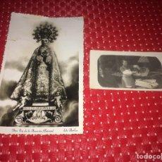 Fotografía antigua: ELCHE ( ALICANTE ) - FOTOGRAFIA ANTIGUA DE UN TENDERO Y POSTAL DE LA PATRONA DE LOS AÑOS 50. Lote 222497196