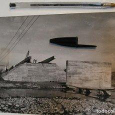 Fotografía antigua: FOTO FOTOGRAFIA CONTRUCCION DEL NUEVO PUENTE DE LA BARCA Y ACCESOS GERONA AÑOS 60 , 17,50 X15,50. Lote 223033817