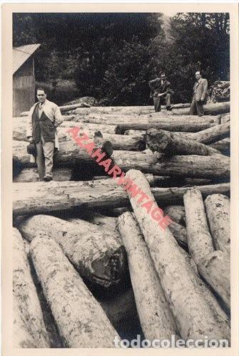 FOTOGRAFIA 18X12 - AÑOS 40 - MADERAS DEL VALLE DE ARAN - BARCELONA - ESTACION FINAL DE UN CABLE (Fotografía Antigua - Fotomecánica)