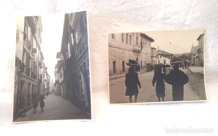 ORENSE AÑOS 40 CALLE LEPANTO Y PROGRESO DELANTE LA CARCEL VENDEDORAS AMBULANTES, 2 FOTOGRAFIAS (Fotografía Antigua - Fotomecánica)