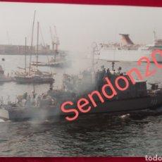 Fotografía antigua: FOTOGRAFIA PATRULLERO P33 ESPALMADOR. EN BAZAN. ARMADA ESPAÑOLA 1989. Lote 227729150