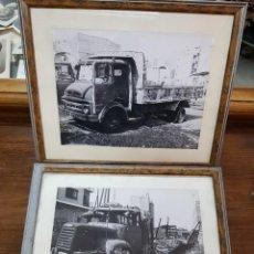 Fotografía antigua: ANTIGUAS FOTOGRAFIAS ORIGINALES CAMIONES ABANDONADOS. Lote 238394045