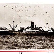 """Fotografía antigua: BARCO ESPAÑOL """"CADIZ"""" DE PINILLOS IZQUIERDO. 4-SEP-1917. PUERTO DE CÁDIZ.. Lote 240649310"""
