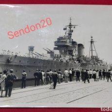 Fotografia antica: FOTOGRAFIA CRUCERO PESADO CANARIAS C21. MARINA DE GUERRA. SAENZ GUERRERO. Lote 244837995