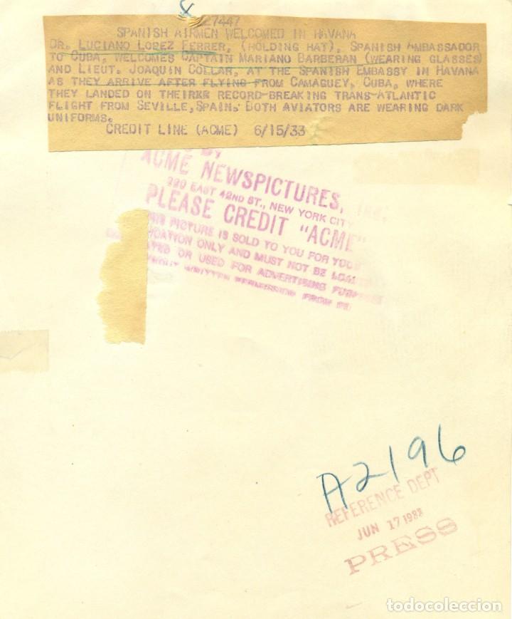 Fotografía antigua: VUELO SEVILLA-CUBA. AVION CUATRO VIENTOS. BARBERÁN Y COLLAR .DESAPARECIDOS EN JUNIO 1933. - Foto 2 - 248794330