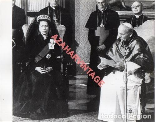 1980, AUDIENCIA DE JUAN PABLO II A LA REINA DE INGLATERRA, 24X18 CMS (Fotografía Antigua - Fotomecánica)