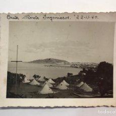 Fotografia antica: CEUTA MILITAR. FOTOGRAFÍA MONTE INGENIEROS CAMPAMENTO.. (A.1940) LEYENDA EN SU ANVERSO... Lote 263053525