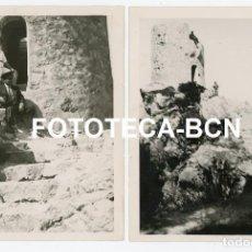 Fotografía antigua: LOTE 2 FOTOS ORIGINALES TORREON TORRE DE DEFENSA CARRETERA DE ESTELLENCS AÑO 1933. Lote 267636829
