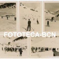 Fotografía antigua: LOTE 5 FOTOS ORIGINALES ESTACION DE ESQUI VALL DE NURIA TREN CREMALLERA AÑO 1934. Lote 267644869