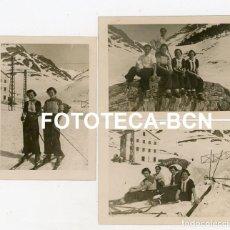 Fotografía antigua: LOTE 3 FOTOS ORIGINALES ESTACION DE ESQUI VALL DE NURIA AÑO 1934. Lote 267645324