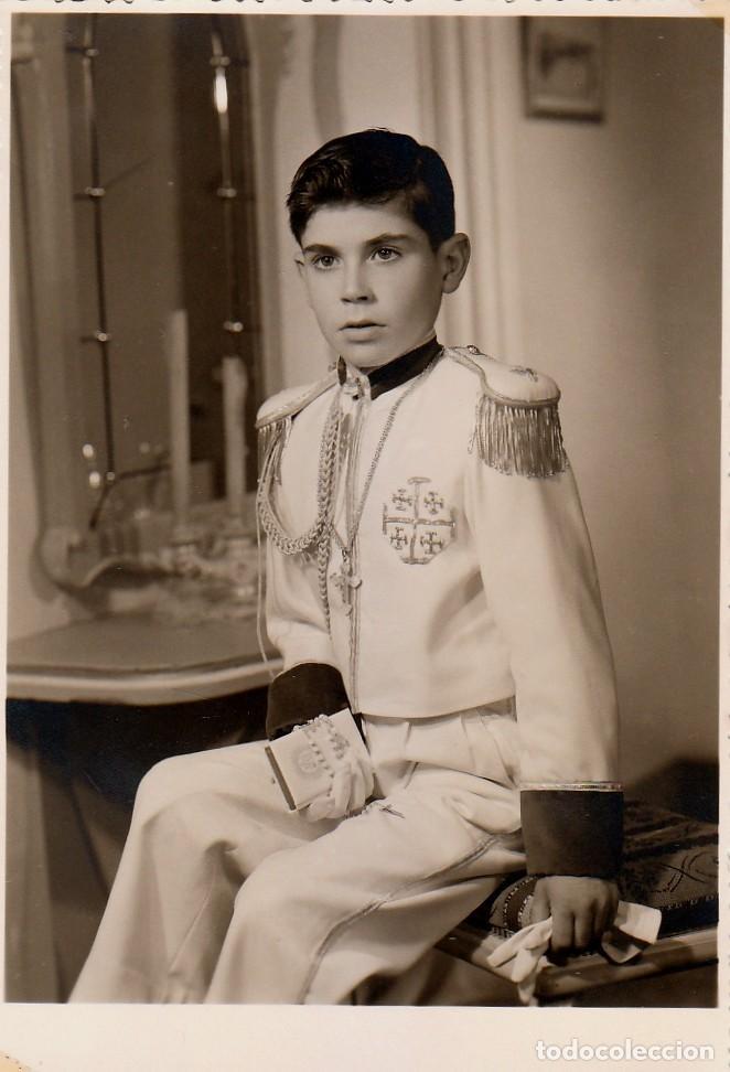 GUAPO NIÑO CON TRAJE DE COMUNIÓN. ALMIRANTE. ADOLFO GARCÍA, JATIVA, VALENCIA AÑOS 50 AA (Fotografía Antigua - Fotomecánica)