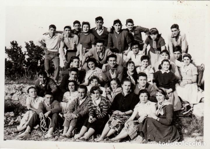 GRAN GRUPO DE CHICAS Y CHICOS. AMIGOS. FOTO M. BORI, LIRIA LLIRIA VALENCIA. AÑO 1959. XZ (Fotografía Antigua - Fotomecánica)