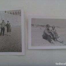 Fotografía antigua: LOTE DE 2 FOTOS DE PAREJA EN CHIPIONA ( CADIZ ). Lote 277522383