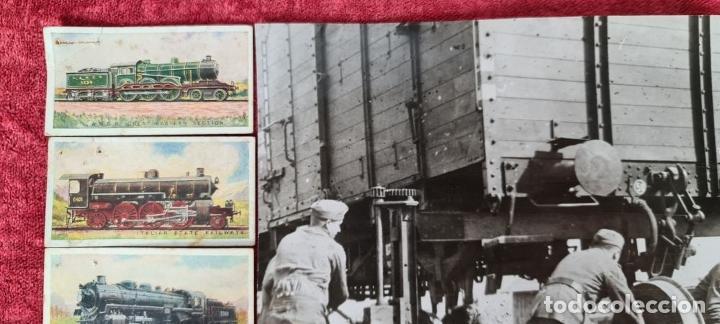 Fotografía antigua: CAMBIO DE EJES. FOTOGRAFIA EN B/N. 6 CROMOS DE LOCOMOTORAS. PRINCIPIOS SIGLO XX. - Foto 3 - 277681578