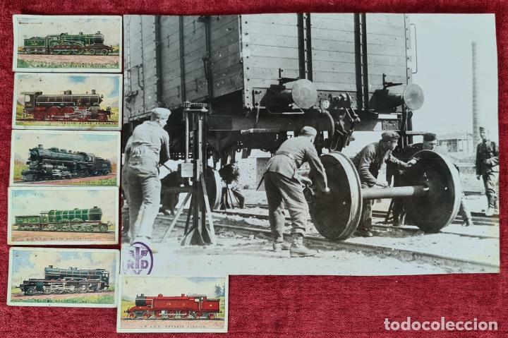 CAMBIO DE EJES. FOTOGRAFIA EN B/N. 6 CROMOS DE LOCOMOTORAS. PRINCIPIOS SIGLO XX. (Fotografía Antigua - Fotomecánica)