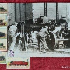 Fotografía antigua: CAMBIO DE EJES. FOTOGRAFIA EN B/N. 6 CROMOS DE LOCOMOTORAS. PRINCIPIOS SIGLO XX.. Lote 277681578